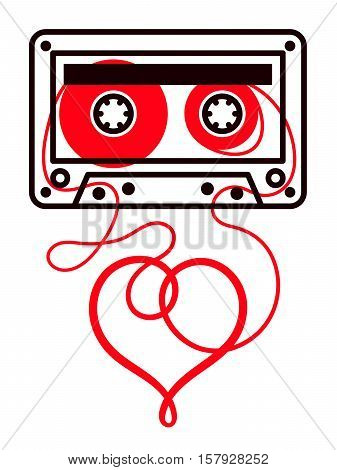 Mixtape cassette with red heart shape reel isolated on white, vector
