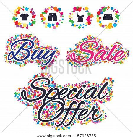 Sale confetti labels and banners. Clothes icons. T-shirt and pants with shorts signs. Swimming trunks symbol. Special offer sticker. Vector