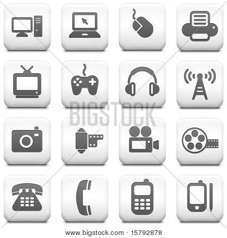 Icono de la tecnología de cuadrados en blanco y negro botón colección Original ilustración