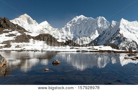 Panoramic view of Mount Makalu above lake near Kongma La pass three passes trek way to Everest base camp Khumbu valley Sagarmatha national park Nepal