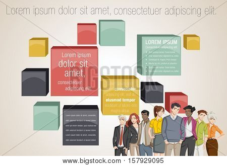Vector banners / backgrounds with business people. Text box frames. 3D infographic design.