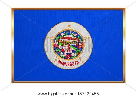 Flag of the US state of Minnesota. American patriotic element. USA banner. United States of America symbol. Minnesotan official flag golden frame fabric texture illustration. Accurate size colors