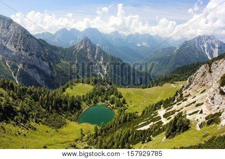 View from Karnische Alpen or Alpi Carniche to Alpi Dolomiti - Italy