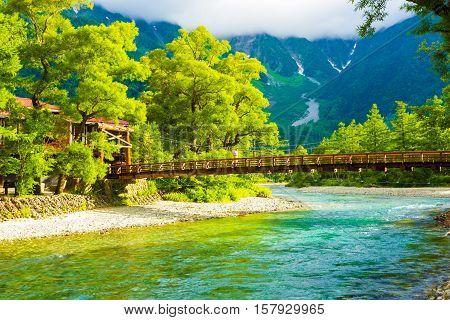 Kamikochi Kappa-bashi Bridge River Mount Hotaka H