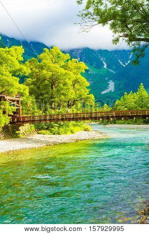 Kamikochi Kappa Bridge River Mount Hotaka-dake V
