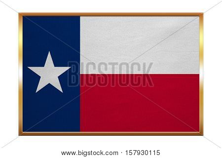 Flag of the US state of Texas. American patriotic element. USA banner. United States of America symbol. Texan official flag golden frame fabric texture illustration. Accurate size colors