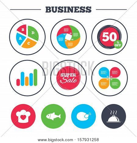 Business pie chart. Growth graph. Chief hat with heart and cooking pan icons. Fish and chicken signs. Hot food platter serving symbol. Super sale and discount buttons. Vector