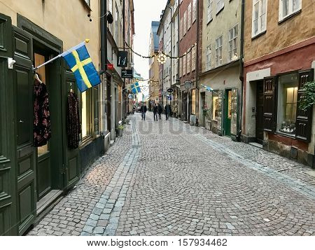 STOCKHOLM - NOVEMBER 22: Retail outlets in Gamla Stan on November 22, 2016 in Stockholm, Sweden.