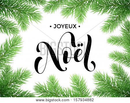 French Merry Christmas Joyeux Noel text lettering in frame of tree branches. Festive Noel greeting card with Christmas stars ornaments