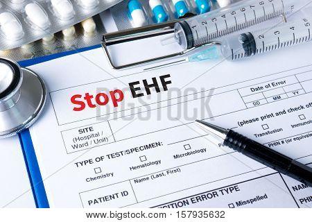 Stop Ehf (ebola Hemorrhagic Fever) Stop Ehf (ebola Hemorrhagic Fever) Doctor Work With Medical Equip