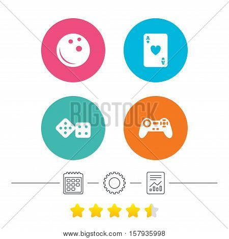 Bowling and Casino icons. Video game joystick and playing card with dice symbols. Entertainment signs. Calendar, cogwheel and report linear icons. Star vote ranking. Vector