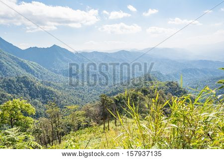 Beautiful mountains view with bright blue sky at Phu Soi Dao Thailand.