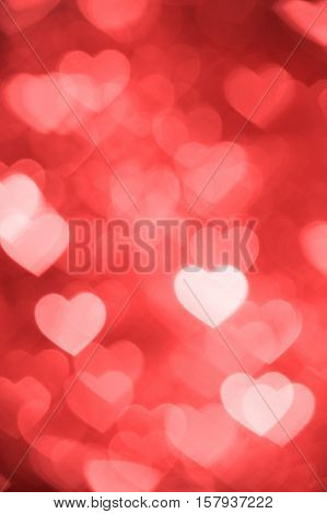 light red heart bokeh background photo, abstract holiday backdrop