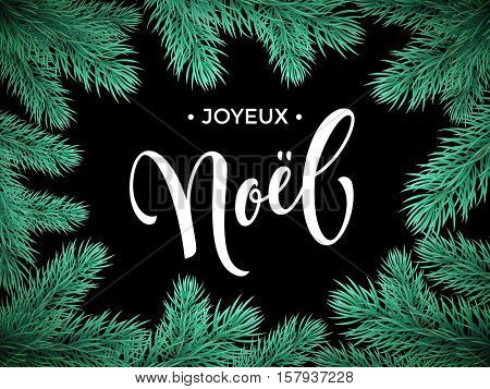 French Merry Christmas Joyeux Noel text lettering in frame of pine, fir, spruce tree branches. Festive Noel greeting card with Christmas tree branch ornaments frame
