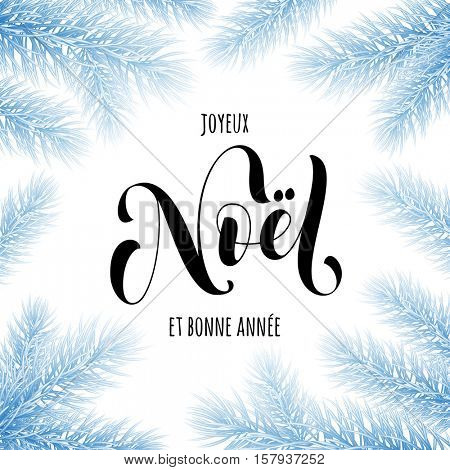 Merry Christmas in French Joyeux Noel greeting card. Joyeux Noel frosty frame poster template of pine and fir christmas tree branches