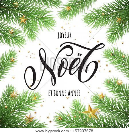 New Year in French, Merry Christmas Joyeux Noel, Bonne Annee greeting card with Christmas tree. Festive Joyeux Noel text lettering in frame of pine, fir, spruce tree branches
