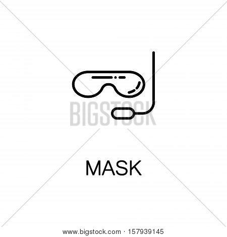 Diving mask flat icon. Single high quality outline symbol of sport equipment for web design or mobile app. Thin line signs of mask for design logo, visit card, etc. Outline pictogram of mask