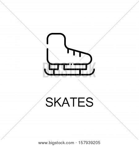 Skates flat icon. Single high quality outline symbol of sport equipment for web design or mobile app. Thin line signs of skates for design logo, visit card, etc. Outline pictogram of skates