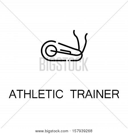Athletic trainer flat icon. Single high quality outline symbol of sport equipment for web design or mobile app. Thin line signs of fitness equipmentfor design logo, visit card, etc. Outline pictogram of trainer