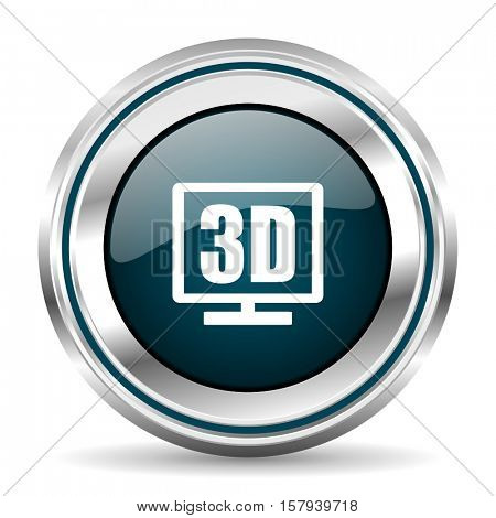 3D vector icon. Chrome border round web button. Silver metallic pushbutton.