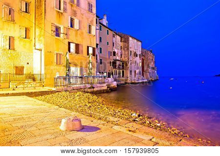 Rovinj beach and waterfront evening view Istria Croatia