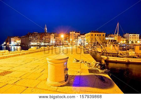Rovinj harbor and waterfront evening view Istria Croatia