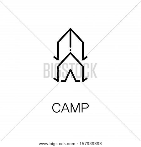 Camp flat icon. Single high quality outline symbol of outdoor activity for web design or mobile app. Thin line signs of tent for design logo, visit card, etc. Outline pictogram of tent