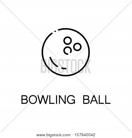 Bowling ball flat icon. Single high quality outline symbol of sport equipment for web design or mobile app. Thin line signs of bowling ball for design logo, visit card, etc. Outline pictogram of bowling ball