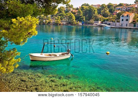 Idyllic turquoise beach in Splitska village on Brac island Croatia
