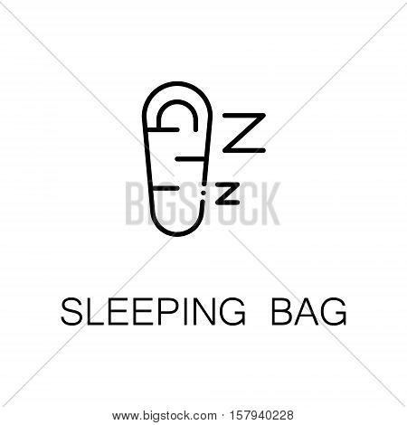 Sleeping bag flat icon. Single high quality outline symbol of outdoor activity for web design or mobile app. Thin line signs of sleeping bag for design logo, visit card, etc. Outline pictogram of sleeping bag