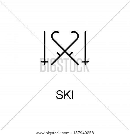 Ski flat icon. Single high quality outline symbol of sport equipment for web design or mobile app. Thin line signs of ski for design logo, visit card, etc. Outline pictogram of ski