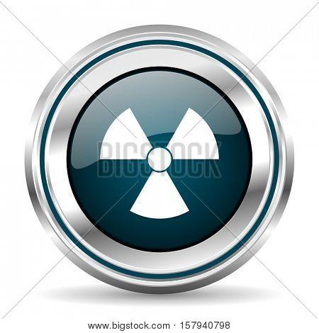 Radiation vector icon. Chrome border round web button. Silver metallic pushbutton.