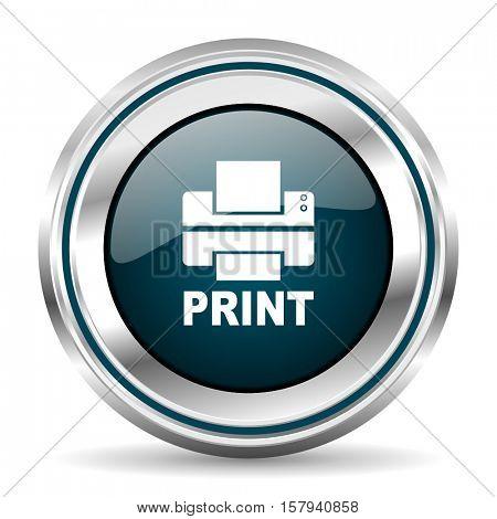 Printer vector icon. Chrome border round web button. Silver metallic pushbutton.