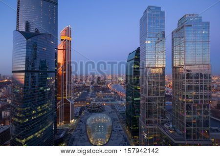 MOSCOW - MAR 26, 2016: Futuristic Moscow International Business Center at evening. East tower of complex Federation in height 374 m - highest skyscraper in Europe
