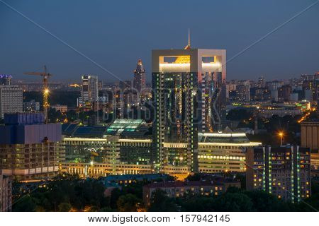 MOSCOW, RUSSIA - JUN 13, 2016: Ship building in Moscow City business complex at evening. Moscow International Business Center Moscow City includes 20 futuristic buildings