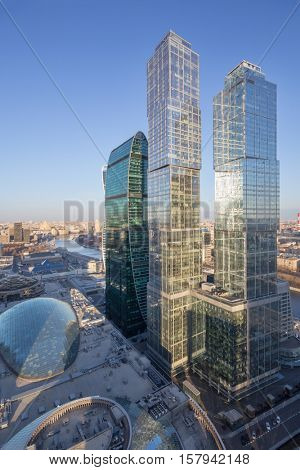 MOSCOW - MAR 26, 2016: Central core, Empire, Capital City Tower in Moscow International Business Center. Underground part of the Core includes 3 metro station