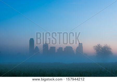 Foggy morning on the Trinity River in Dallas Texas