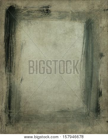 Aged grunge paper background and abstract frame for the design.
