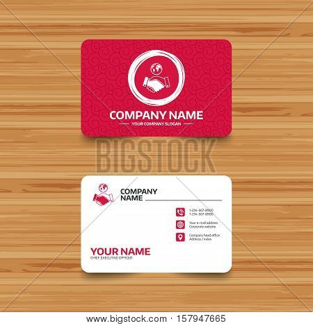 Business card template with texture. World handshake sign icon. Amicable agreement. Successful business with globe symbol. Phone, web and location icons. Visiting card  Vector