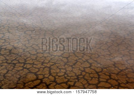 The soil dried had under the flooded. Under water see through of Drought still see traces