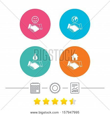 Handshake icons. World, Smile happy face and house building symbol. Dollar cash money bag. Amicable agreement. Calendar, cogwheel and report linear icons. Star vote ranking. Vector