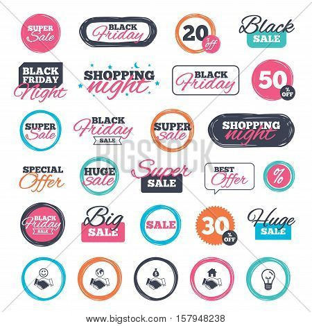Sale shopping stickers and banners. Handshake icons. World, Smile happy face and house building symbol. Dollar cash money bag. Amicable agreement. Website badges. Black friday. Vector