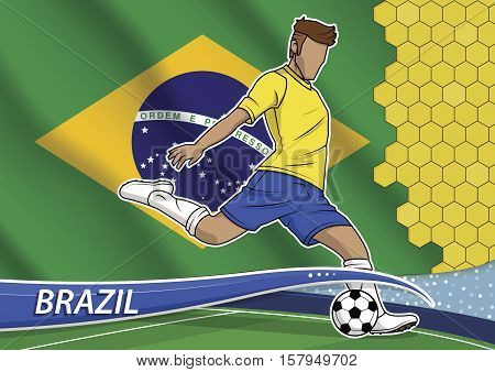 Vector illustration of football player shooting on goal. Soccer team player in uniform with state national flag of brazil.