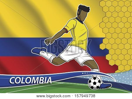 Vector illustration of football player shooting on goal. Soccer team player in uniform with state national flag of colombia.