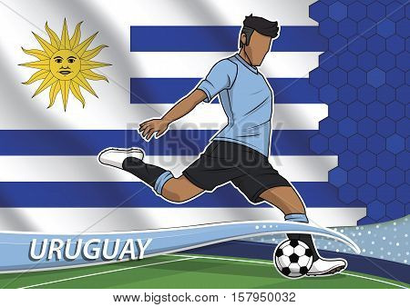 Vector illustration of football player shooting on goal. Soccer team player in uniform with state national flag of uruguay.