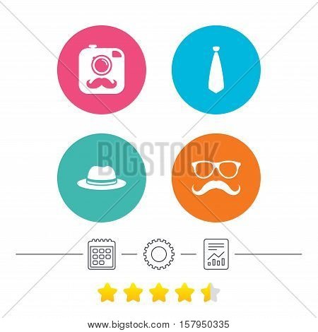 Hipster photo camera with mustache icon. Glasses and tie symbols. Classic hat headdress sign. Calendar, cogwheel and report linear icons. Star vote ranking. Vector