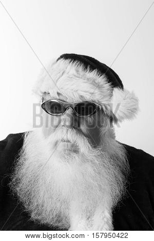 very cool hip hop gangster looking santa in black and white