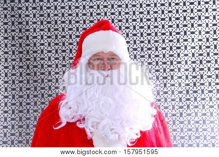 Santa Claus Head Shot. Santa Headshot. Santa Claus Studio Head shot. Head shot in black and white. Smiling Santa Claus.