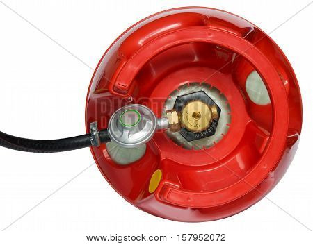 red gas cylinder with a gearbox attached to it