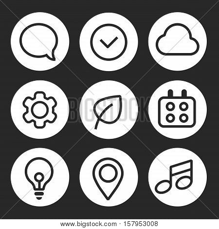 Vector set of icons for applications with picture messages, clouds, timer, lamp, notes, tags, gears, calendar and worksheet